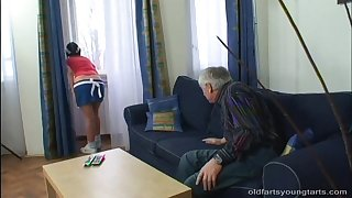 Old vs Young porn dusting all over small breast Kristyna C having sex
