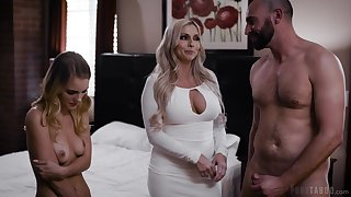 Grey and young threesome fun with Christie Stevens and Natalie Knight