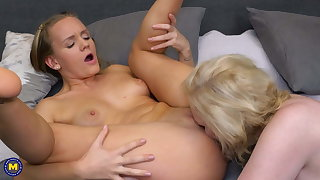 Lesbian 69 sex after a bath with busty mom