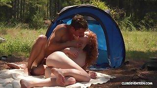 Ginger slut enjoys great camping high-pressure shafting all day