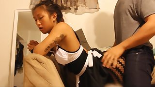 Exxxtra Small Asian Maid Cleans A Heavy Penis - Handjob