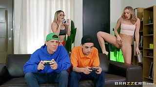 18 yo babes share their day in the air a superb home foursome