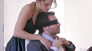 Blindfolded lucky dude is surprised with a sensual double blowjob