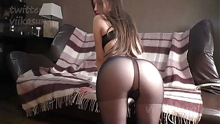 Slim Pessimistic In Dismal Pantyhose Shows Pussy