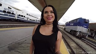 Horny brunette babe Trina Rush sucks and rides cock on a train