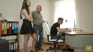 Naughty young chick Ornella is cheating on her boyfriend with his grandpa
