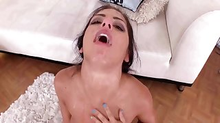 Young brunette deepthroated with snack cumshot