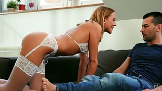 Wearing white underwear Hungarian GF Poppy Pleasure lures dude for good sex
