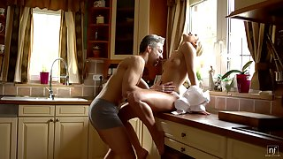 Down in the mouth housewife Dido Bettor is making love with her husband early in the morning