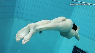 Skinny Russian teen Gazel Podvodkova loves unclothed swimming less a pool