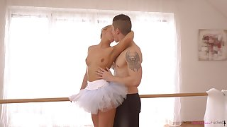 Cute diva in tutu Victoria Pure gives a good ride right heavens the floor