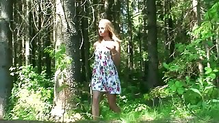 Amateur skinny young unspecific squats down and pisses in dramatize expunge forest
